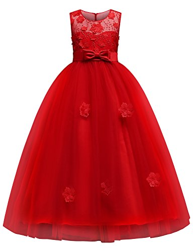 Blevonh Princess Dresses for Girls Child Vintage Sleeveless A Line Lace Special Occasion Dress Big Kids 3D Flower Gowns Bow Party Floral Wedding Dresses Size(170) 15-16 Year Red Dresses