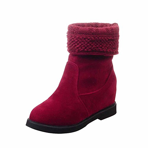 Boots Kitten Pull On Red Polish Closed Solid Dull Heels Round Toe Women's Allhqfashion 1q8zPP