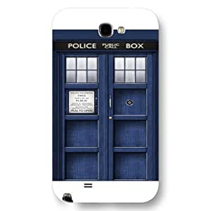 UniqueBox - Customized Black Frosted Samsung Galaxy Note 2 Case, Doctor Who Tardis Blue Police Call Box Samsung Note 2 case