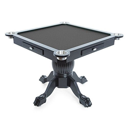 BBO Poker Levity Game and Poker Table for 4 Players with Black Speed Cloth Playing Surface, 40.5-Inch Square, Includes 4 Dining Chairs by BBO Poker (Image #2)