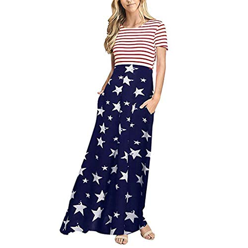 .Womens Short Sleeve Dress Independence Day Stripes Splicing Boho Beach Maxi Dress with Pockets (XXL, - American Tie Apparel