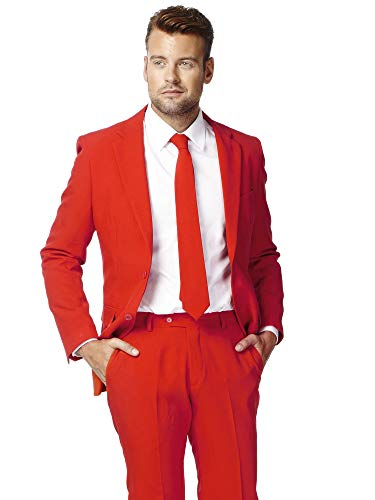 OppoSuits Men's Red Devil Party Costume Suit, Red, 42 ()