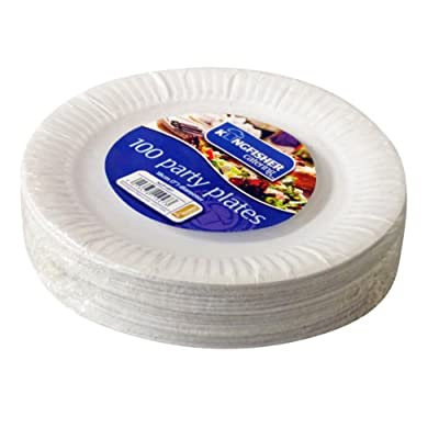 Kingfisher papier jetables Assiettes, Blanc, 17,8cm, Lot de 100