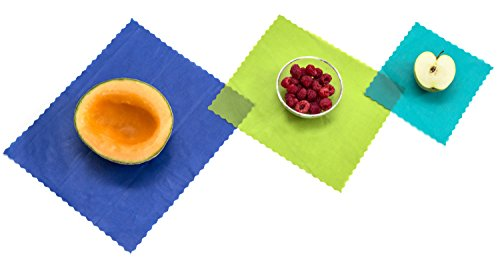 Different fruits on reusable food wraps of different colors and sizes.