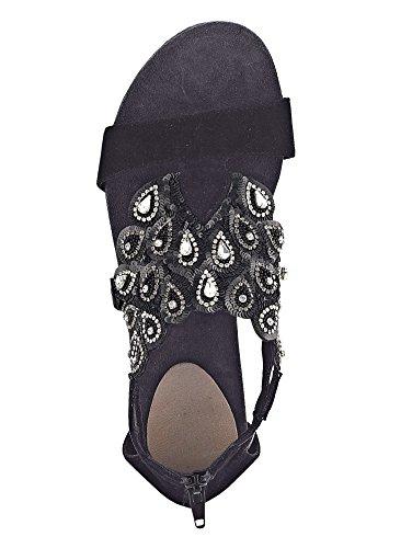 Wenz Sandale mit handgestickten Zierelementen Schwarz