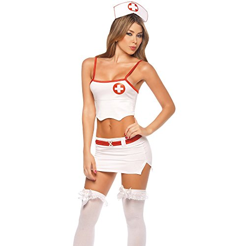 Head Nurse Costumes (Espiral Lingerie Women's Head Nurse Costume, White/Red, Small)