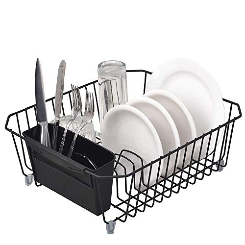 - IKEBANA Commercial Small Wire Dish Drainer Drying Rack, Kitchen Dish Drainer Rack With Removable Cutlery Holder Black