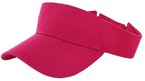 Plain Men Women Sport Sun Visor Adjustable Velcro Cap ( 29+ Colors) Hot Pink