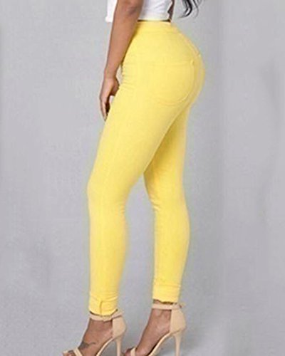Leggings Pantaloni Denim Jeans Skinny Vita Donne Casuale Alta Giallo Elastico 7065q