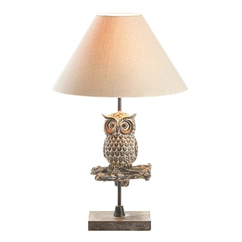Zings & Thingz 57074226 Perched OWL Table LAMP, Cream ()