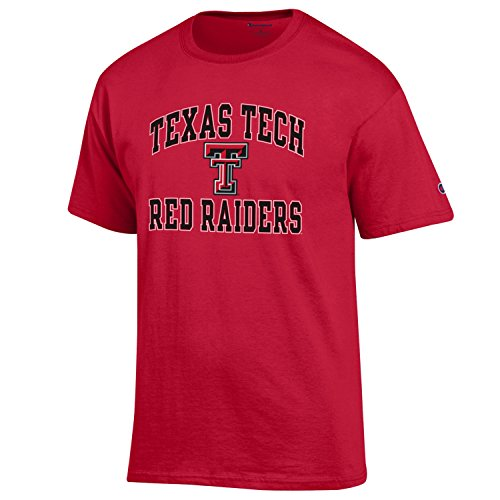 Champion NCAA Men's Shirt Short Sleeve Officially Licensed Team Color Tee, Texas Tech Red Raiders, Large
