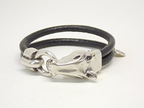 Black Leather Bracelet with Equstrian Horse Clasp, Uno de 50 (Horse Clasp)