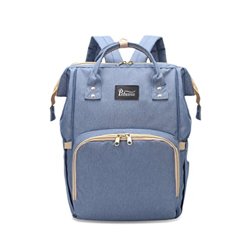 Wide Open Diaper Bag Multi-Function Waterproof Travel Backpack Nappy Bags for Baby Care, Large Capacity, Insulated Pocket,Wet Clothes Pocket, Keychain Clasp ,Wipe Pocket ,Mom Dad Backpack (Blue Diaper Pouch)