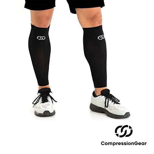 CompressionGear Calf Sleeve - Best Leg Socks for Shin Splints, Muscle Cramps, Pain Relief - Non-Slip Calf Guard Fits Men & Women's Calves, Great for Basketball, Running, Maternity, Travel (Best Thing For Shin Splints)