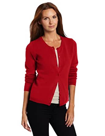 Sofie Women's Long Sleeve 100% Cashmere Cardigan, Ruby, X-Large