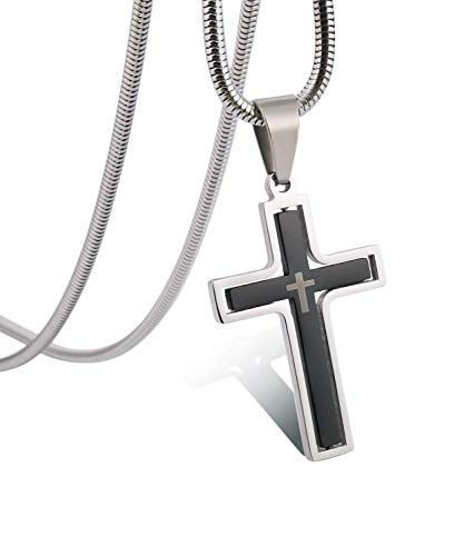 - RMOYI Men's Personalize Rotatable Black Cross Necklace Stainless Steel Pendant Necklace Chain,24