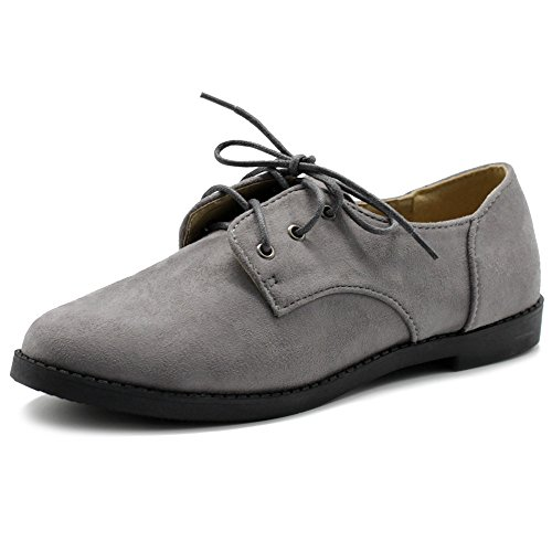 Ollio+Women+Classic+Flats+Shoes+Lace+Up+Faux+Suede+Oxford+ZM2910%288.5+B%28M%29+US%2C+Grey%29