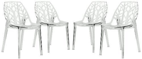 LeisureMod Cornelia Cut-Out Tree Design Modern Dining Chair, Set of 4 (Clear)