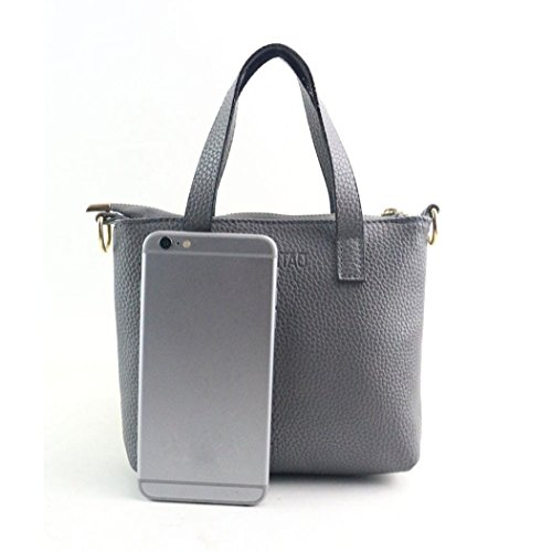 PU Design Tote 5cmx15cm Women Gray for EUzeo Handle Elegant Shoulder Handbag Handbags Fashion Bag Top Look 20cmx3 Leather 8ddFnatxq