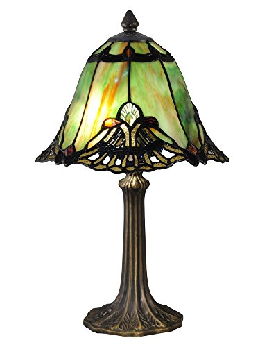 Antique Brass Tiffany Table Lamp - Dale Tiffany TA15057 Green Haiawa Tiffany Accent Table Lamp Antique Brass