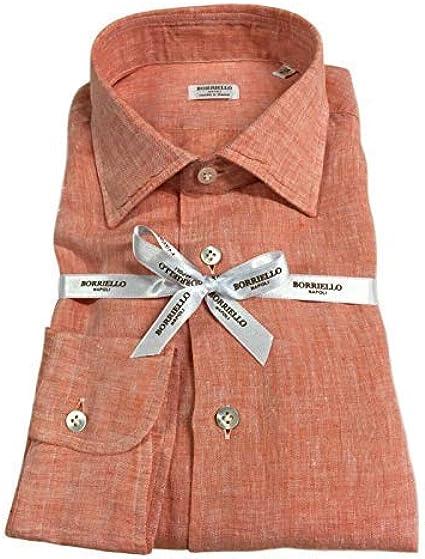 BORRIELLO NAPOLI - Camisa de Hombre de Manga Larga 100% Lino Llamado Made in Italy Salmón X-Large: Amazon.es: Ropa y accesorios