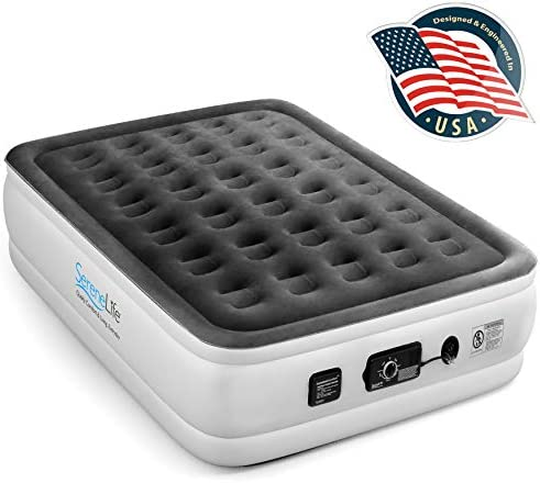 SereneLife Raised Self 8 Elevated MattressBuilt-in Pump-Durable Automatic Electric Inflation Blow Up Air Bed W/Soft Plush Flocking Full SLABFL60