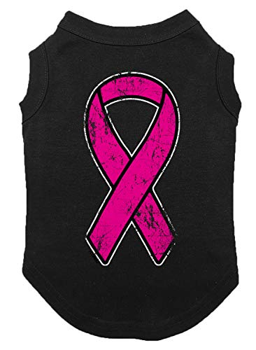 Tcombo Distressed Pink Ribbon Dog Shirt (Black, 3X-Large)