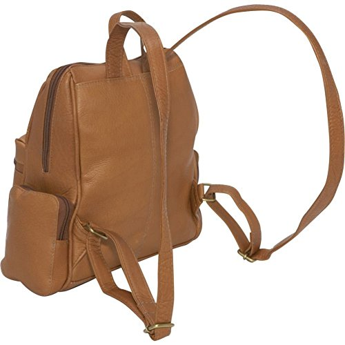 Le Donne Leather Zip Around 4 Pocket Women's Backpack / Purse in Black by Le Donne (Image #3)