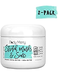 Body Merry Stretch Marks & Scars Defense Cream 2-PK: Daily Moisturizer w Organic Cocoa Butter + Shea + Oils for removal & fading for old/new scars, stretch marks, & pregnancy - Perfect for Men & Women