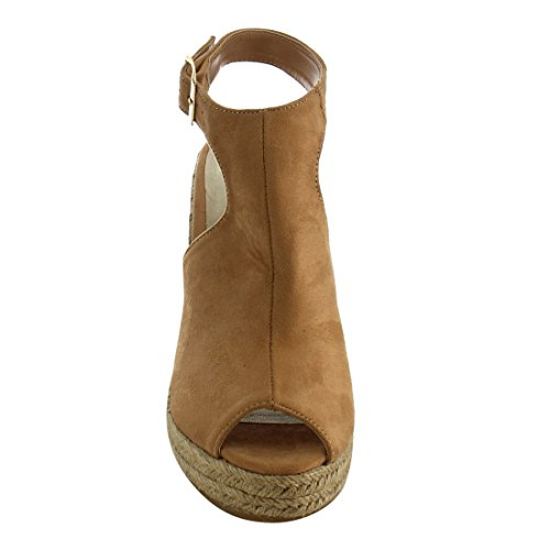 Beston Ie01 Kvinna Peep Toe Spänne Ankelbandet Backless Espadrille Wedge Sandal Kamel