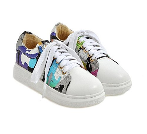 LDMB Ladies Round Toe Low pour aider à Cross Straps Chaussures Département Spell Color Student Shoes , silver , 38