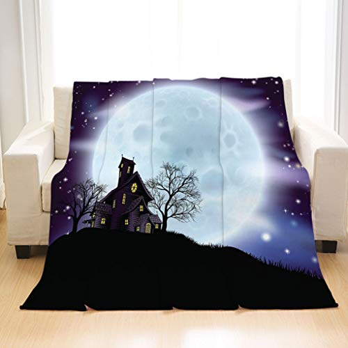 BEIVIVI Soft Stylish Flannel Blankets A Scary Illustration of a Halloween Themed House Soft All Seasons Sleeping Blankets]()