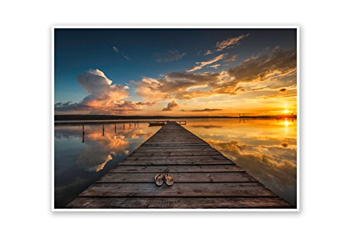Dock Sunset (Dock at Sunset - Water Landscapes - 24x18 Matte Poster Print Wall Art)