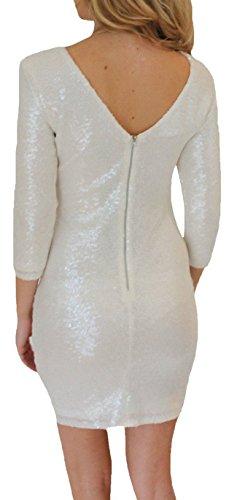 Auspicious beginning Glitter lange Hülse Bodycon Minikleid Glänzend Sexy Clubwear Frauen Weiß 4K5hZJvZn