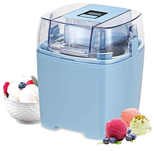 Costway Ice Cream Maker 1.6 Quart Automatic Macarons Color Ice Cream Machine, custard Frozen Yogurt Sorbet Gelato Machine with Auto Shut Off Timer, LCD Display and Mixing Paddle for Soft Serve Dessert (Blue)