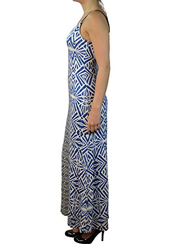 Dress Global White Spaghetti Women's Printed Long Strap Alfa Abstract Blue 4B0wqPw