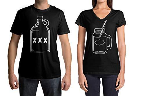 Threadrock Moonshine & Mason Jar Men's Tee & Women's V-Neck Matching Couples T-Shirt Set (Men's: Moonshine, L, Black|V-Neck: Mason Jar, M, Black)]()