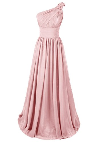 Dresstore Women's One Shoulder Bridesmaid Dress Chiffon Party Evening Dress Blush US 2