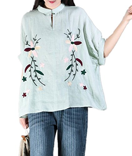 YESNO E01 Women Casual Loose Fit Embroidered Blouse Shirt Lapel Button-Down Shirt 100% Linen Raglan Sleeve