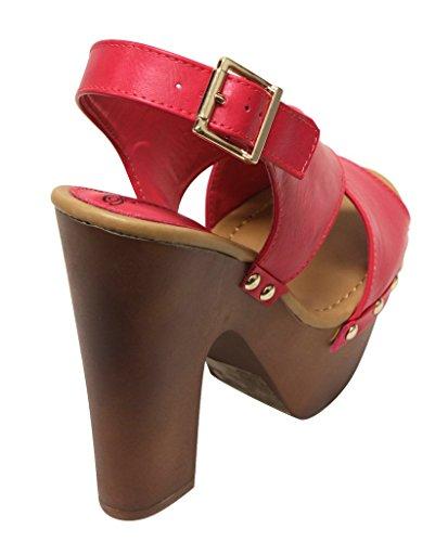 Breckelles Toe Open Sandali Donna Piattaforma A Pu Con Rudy Tacco 13 qqH4X