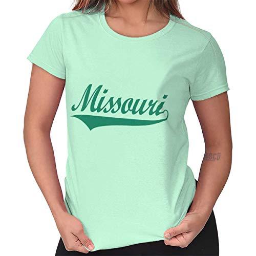 Missouri Ladies T-shirt - Missouri MO Athletic Sports College Workout Ladies T Shirt Mint Green