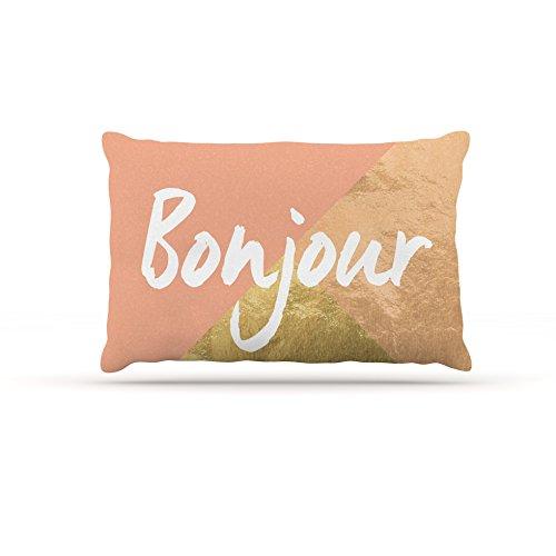 30 by 40\ Kess InHouse Original Bonjour gold  Metallic Fleece Dog Bed, 30 by 40