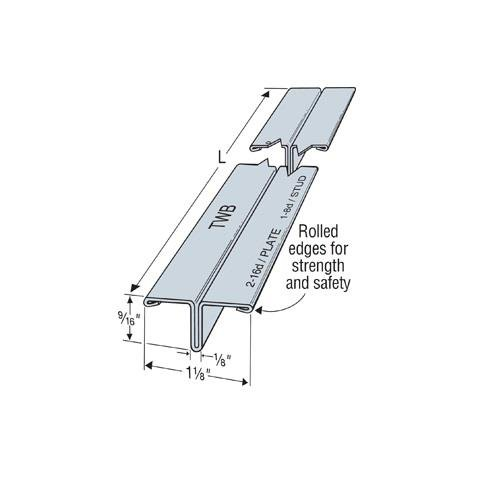 Masonry Wall Tie - (15 Count) Simpson Strong-Tie TWB12 - 11 Ft 4-In T Wall Bracing Rolled Edges