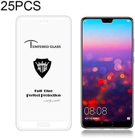 Black GzPuluz Glass Protector Film 25 PCS Full Screen Full Glue Anti-Fingerprint Tempered Glass Film for Huawei P20 Color : White