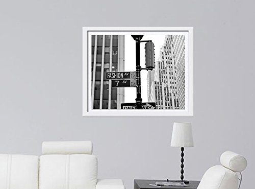 Fashion Avenue Street Sign Photography Print, Fashion Wall Art, Black and White Fashion Ave. and 7 Ave., New York City Fashion Wall Decor Picture
