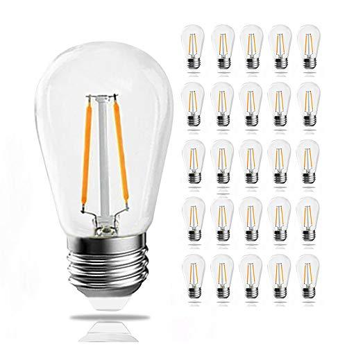 Yun-Link 25PACK Dimmable 1.8W LED S14 Bulbs, Waterproof Warm White 2700 Kelvin Vintage Outdoor String Lights Bulbs, Shatterproof Candelabra Screw E26 Base Edison Filament Bulbs ()