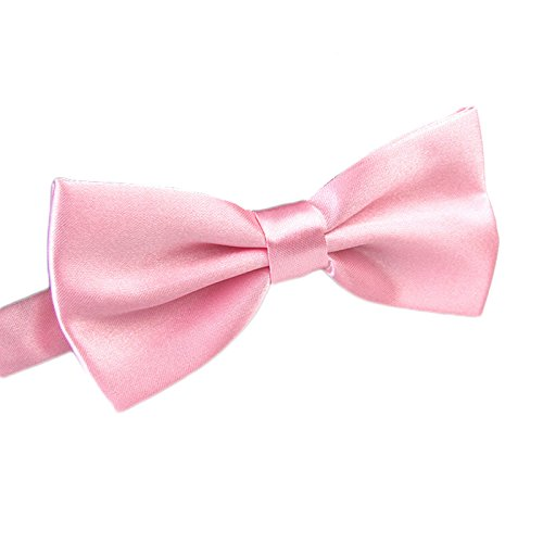 FSLESI Men's Pre Tied Wedding Party Fancy Plain Necktie Bow Ties,Light Pink (Bowties Pink)