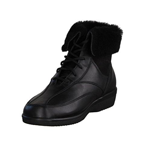 Ganter Inge 204787-100- Damenschuhe bequeme Stiefel-Stiefeletten, Schwarz, calf ( leder ), absatzhöhe: 12 mm