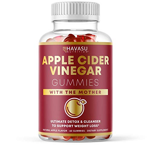 Havasu Nutrition Apple Cider Vinegar Gummies for Detox Cleanse & Belly Control; Organic ACV with Mother Enzyme; 60…