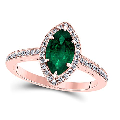 DreamJewels 1.20 Ct Created Green Emerald Marquise Shape & CZ Simulated Diamond 14K Rose Gold Finish Halo Style Engagement Ring for Women's Girlfriend & Birthday Gift